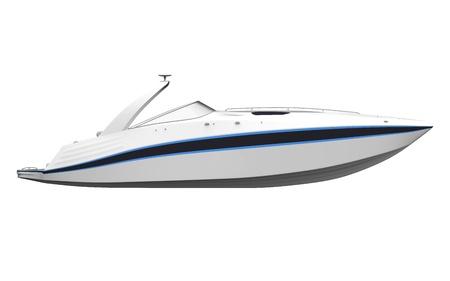speedboat: White Speedboat Isolated on White Background Stock Photo