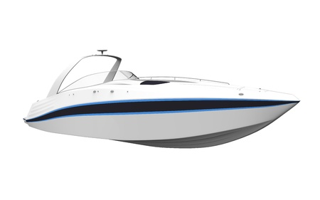 speed boat: White Speedboat Isolated on White Background Stock Photo