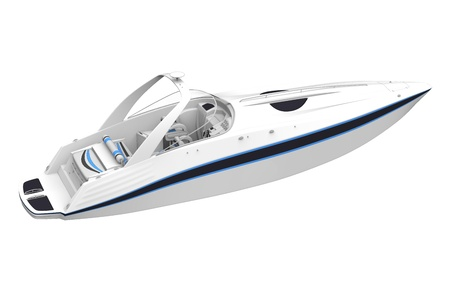 White Speedboat Isolated on White Background Stock Photo