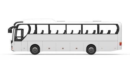 큰 흰색 투어 버스