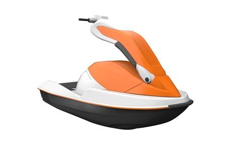 bateau de course: Jet Ski isolé sur fond blanc