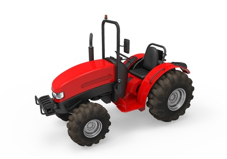 agriculture machinery: Red Tractor Isolated