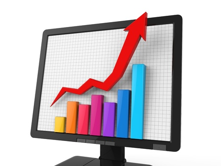 increase business: Business Graph on Screen