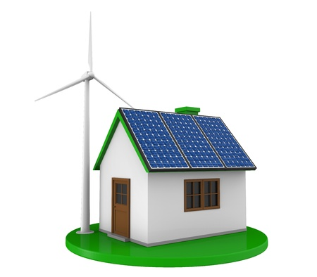 House with Solar Panels and Wind Turbine Stock Photo - 20534035