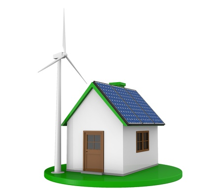 House with Solar Panels and Wind Turbine photo
