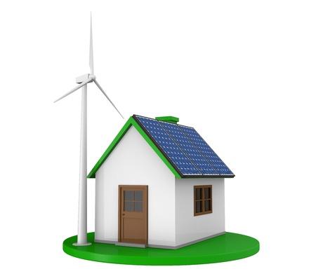 Maison avec panneaux solaires et d'une éolienne