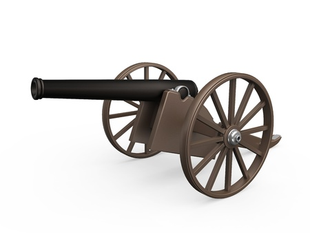 gunnery: Old Cannon Isolated Stock Photo
