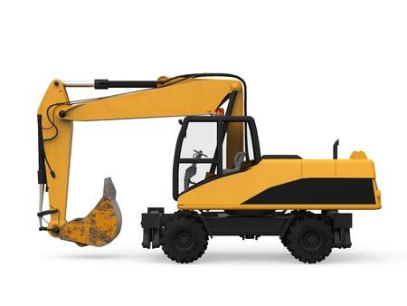 construction vehicle: Yellow Excavator Isolated