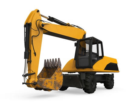 Yellow Excavator Isolated Stock Photo - 20753795
