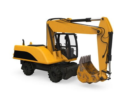 Yellow Excavator Isolated Stock Photo - 20753796