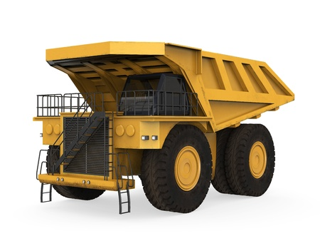wheel loader: Yellow Mining Truck Isolated Stock Photo