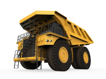 coal truck: Yellow Mining Truck Isolated Stock Photo