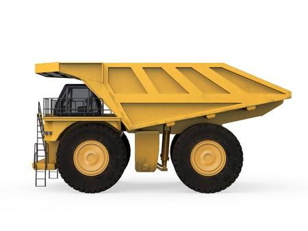 mining truck: Camión de Minería amarilla aislada