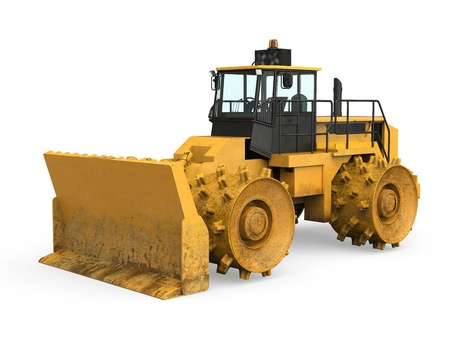 Yellow Bulldozer Isolated Stock Photo - 20754304