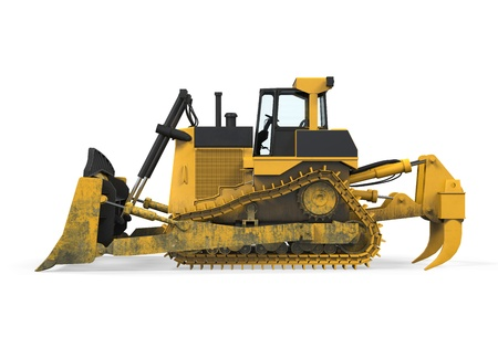 wheel loader: Yellow Bulldozer Isolated