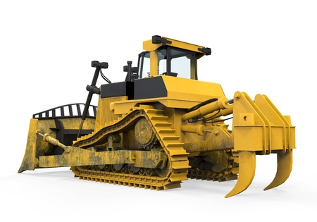 digger: Yellow Bulldozer Isolated