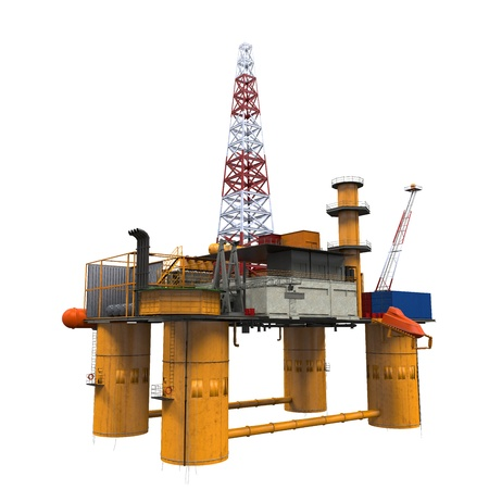 drilling well: Drilling Offshore Platform Oil Rig