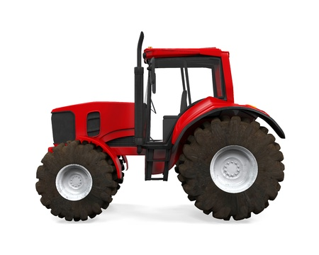 agricultural: Red Tractor Isolated