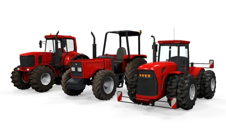 Red Tractors Isolated photo