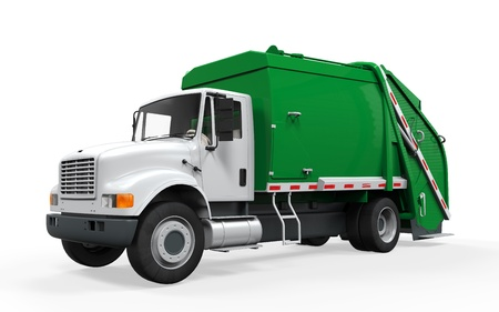camion volquete: Garbage Truck aislada