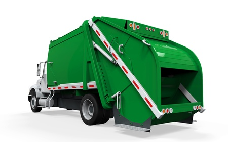 garbage bin: Garbage Truck Isolated