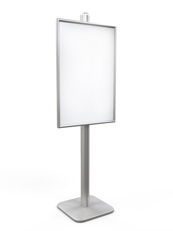 bill board: White Display Advertising Stand Stock Photo