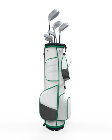 golf equipment: Golf Clubs and Bag Isolated