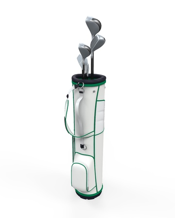 golf bag: Golf Clubs and Bag Isolated