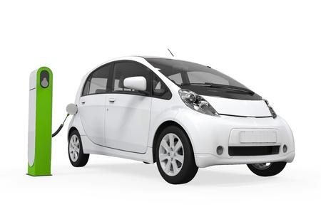 충전 스테이션에 전기 자동차 스톡 콘텐츠