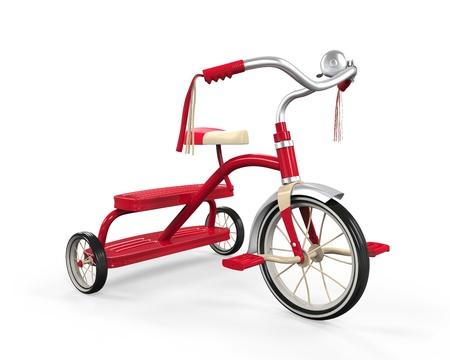 juguetes antiguos: Triciclo de niños aislados Foto de archivo