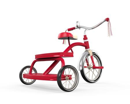 juguetes antiguos: Triciclo de ni�os aislados Foto de archivo