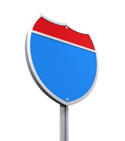blank road sign: Blank Interstate Road Sign Stock Photo