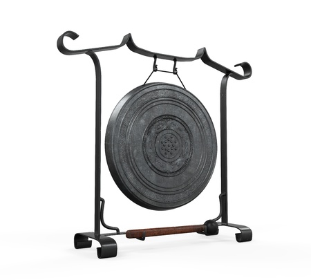 Metal Gong Isolated Stock Photo - 21675194