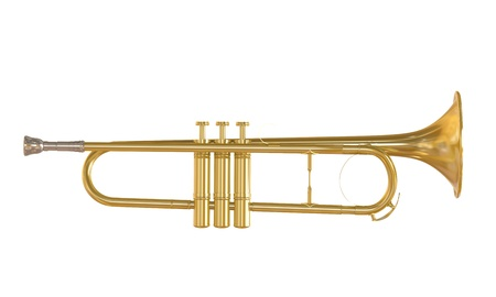 Gold Trumpet Isolated Stock Photo - 21959752