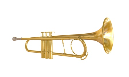 Gold Trumpet Isolated Stock Photo - 21959757