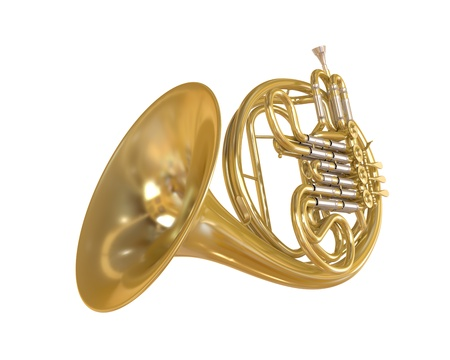French Horn Isolated Stock Photo - 21959754