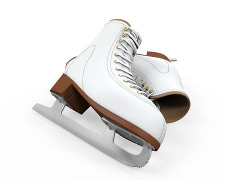 White Figure Skates Isolated Stock Photo - 21959761