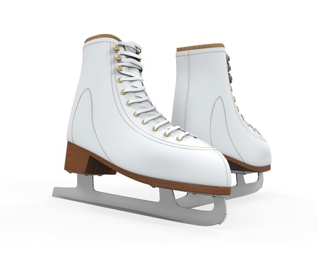 White Figure Skates Isolated Stock Photo - 21959758