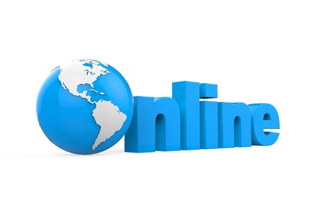Globe with Online Text Stock Photo - 21959932