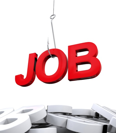 Job Word on Hook Stock Photo - 21959938
