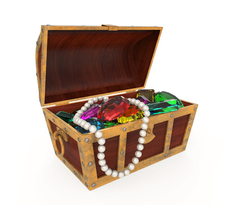 antique jewelry: Treasure Chest Isolated