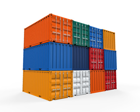 container freight: Stacked Shipping Container Stock Photo