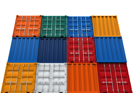 dockyard: Stacked Shipping Container Stock Photo