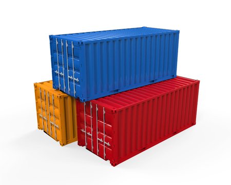 shipping container: Stacked Shipping Container Stock Photo