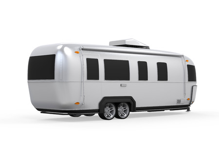 motorhome: Airstream Camper Isolated Stock Photo