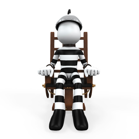 suspected: Illustration of a Prisoner in an Electric Chair Stock Photo