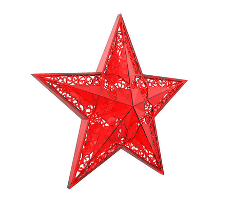 jewell: Red Christmas Star Ornament Stock Photo