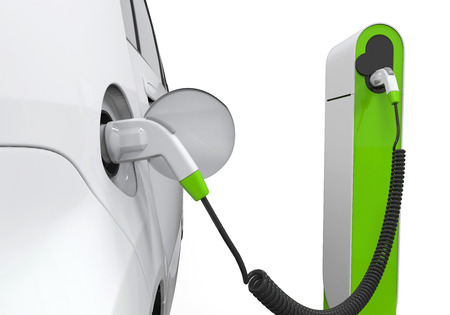 petrol stations: Electric Car in Charging Station