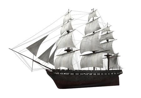 分離された帆船 写真素材