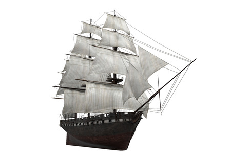 3d sail boat: Sail Ship Isolated Stock Photo